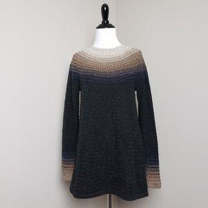 J. Jill Brown Ombre Silk Cotton Blend Sweater